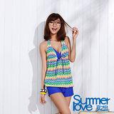 【SUMMERLOVE夏之戀】幾何彩條長版四件式泳衣-(E15715)