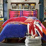 PICASSO 皇家風範 法蘭絨 雙人四件式兩用被床包組