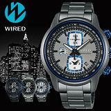 WIRED Reflection 灰色地帶跳躍計時碼錶-藍圈x灰/43mm/7T92-X271N(AF8U19X1)