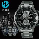 WIRED Reflection 黑夜時空計時碼錶-黑x鍍灰/43mm/7T92-X271F(AF8U21X1)