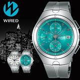 WIRED 福士蒼汰廣告配戴款男用腕錶-藍綠/41mm-7T92-X272B(AF8U23X1)