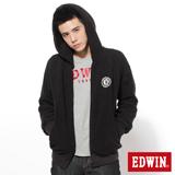 EDWIN 拉克蘭袖毛毛連帽外套-男-黑色