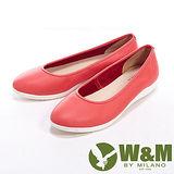 W&M (女)FIT 素色簡約輕便直套女鞋休閒鞋-紅