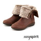 Easy Spirit 毛海反折側拉鍊麂皮短靴 -皮革咖