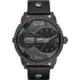DIESEL Mini Daddy 前衛時尚雙時區腕錶-黑/46mm DZ7328