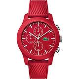 Lacoste 12.12系列撞色活力計時碼錶-莓紅/44mm L2010825