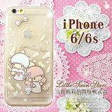 三麗鷗授權正版 雙子星仙子KiKiLaLa iPhone 6/6s 4.7吋 i6s透明彩繪閃粉軟式手機殼(羽毛)