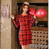 預購【CHACO韓國】正韓 LOVIN 復刻感格紋合身包臀刷絨長袖連身洋裝O989(紅色)