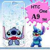 迪士尼授權正版 HTC One A9 大頭背景系列透明軟式手機殼(摀嘴史迪奇)
