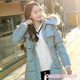 【預購CHACO韓國】正韓 BONGJ 禦寒連帽大毛領防風收腰羽絨棉外套JP80303(2色)
