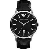 Emporio Armani Classic 都會時尚石英腕錶-黑/43mm AR2411