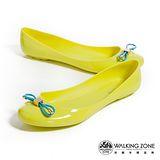 WALKING ZONE (女)韓版蝴蝶結亮麗配色果凍鞋-黃(另有深藍、淺藍、桃、黑)
