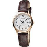 ORIENT 東方錶 優雅復刻阿拉伯數字石英女錶-白x玫瑰金框/28mm FSZ3N007W