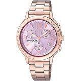 CITIZEN wicca 夢幻星空施華洛世奇系列計時腕錶-粉x玫塊金/34mm BM1-121-91
