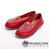 【WALKING ZONE】(女)民族風系列-M型線條休閒女鞋-紅(另有藍)