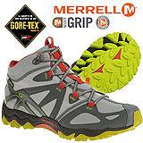 【美國 MERRELL】男新款 GRASSBOW MID SPORT GORE-TEX 專業防水透氣中筒登山健行鞋 淺灰/紅 ML32403