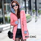 【預購MY-CHIC】韓系 修身時尚併接手套配色連帽羽絨棉長版外套(3色)