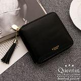 DF Queenin皮夾 - 韓版精品人氣款皮革拉鍊式短夾-黑色