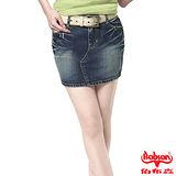 BOBSON 女款刷破牛仔短裙(藍D089-53)
