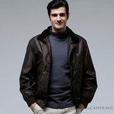 ROBERTA諾貝達 台灣製 時尚百搭 內裡舖棉 可拆式毛領 夾克外套 深褐色