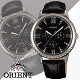 ORIENT 東方錶 CASUAL系列 璀璨晶鑽三眼石英錶-38mm/FSW03004B