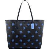 COACH 馬車星星圖樣PVC托特包-藍色【大型】