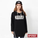 5th STREET 落肩長版連帽T恤-女-黑色