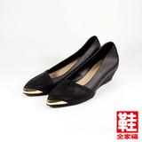 (女) RIN RIN 蔥面斜口楔型鞋 黑 鞋全家福
