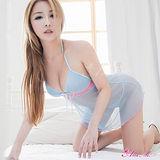 【Anna Mu】連身睡衣 粉藍薄紗綁脖二件式睡衣