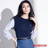 BOBSON 女款異素材.仿兩件式上衣  (35076-53)