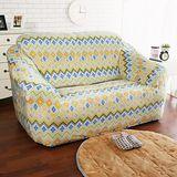 HomeBeauty 新印花頂級柔暖法蘭絨沙發罩-金式法頌 雙人座