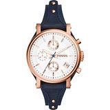 FOSSIL 雅典女仕時尚計時腕錶-玫瑰金框x藍/38mm ES3838