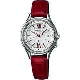 SEIKO LUKIA 夢想羅馬太陽能電波腕錶-銀x紅/28mm 1B25-0AH0R(SSVV013J)