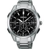 SEIKO Brightz 鈦金屬計時太陽能電波腕錶-黑/43mm 8B92-0AA0D(SAGA197J)