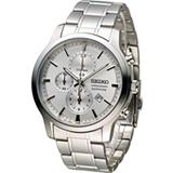 SEIKO 精工 CS系列經典紳士計時腕錶 7T92-0TT0S SNDG65P1 銀白