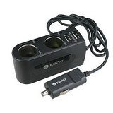 【KINYO】車用2孔+2孔USB輸出孔擴充點煙器(CRU-19)
