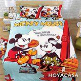 《HOYACASA 米奇甜心》雙人四件式柔絲絨全鋪棉兩用被床包組
