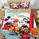《HOYACASA 米奇甜心》加大四件式柔絲絨全鋪棉兩用被床包組