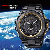 G-SHOCK 全金屬飛行錶款GPS混合電波接收時尚腕錶-黑金/MTG-G1000GB-1A
