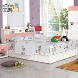 【文創集】絲拉莉 5尺粉色雙人床台三件式組合(床頭箱+床台+床墊)