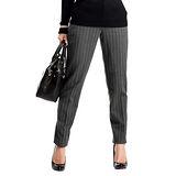 日本Portcros 現貨-保暖條紋鉛筆褲內附羊毛襯褲(黑色系條紋/L)