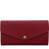 Louis Vuitton LV M60580 Sarah EPI水波紋皮革發財包扣式長夾.紫紅 預購