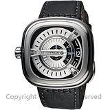 SEVENFRIDAY M1 設計師工藝自動上鍊機械錶-銀x黑/47mm M1