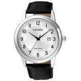 CITIZEN Eco-Drive  傳統美學簡約日期腕錶-銀框白