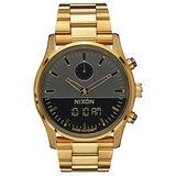 NIXON DUO 宇宙力量雙顯時腕錶-黑x金
