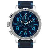 NIXON The 48-20 CHRONO 潮流重擊運動腕錶-藍x深藍皮帶