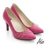 【A.S.O】減壓美型 全真皮多條帶金屬高跟鞋(桃粉紅)