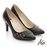 【A.S.O】減壓美型 全真皮多條帶金屬高跟鞋(黑)