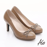 【A.S.O】優雅時尚 真皮鍊帶蝴蝶結飾高跟鞋(卡其)