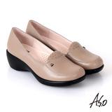 【A.S.O】都會休閒 全真皮素面沖孔楔型跟鞋(卡其)